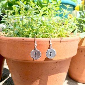 Handmade hammered edge cross earrings